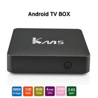 Wholesale Ram Gpu - KM5 S905X Smart Android Box for TV Quad core 64bit CPU Penta-core GPU 1GB RAM 8GB ROM Android6.0 Stream TV Box Fully loaded