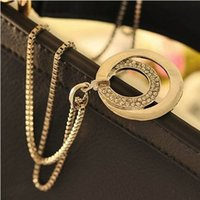 Fashion Double Circle Pendentif en argent Collier Crystal Long Chain Collier rond Colliers Femme