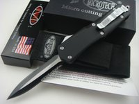 Wholesale Microtech Pocket Knife Serrated - Microtech Combat Troodon A07 Knives Double Edge half Serrated Microtech knife Double Action Hunting Folding Pocket Knives Tactical Survival