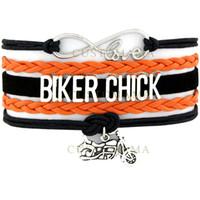 Wholesale Custom Motorcycle Coolers - Custom-Infinity Love Biker Chick Multilayer Bracelet Best Gift Motorcycle Motocross Motorsport Bracelet Cool Orange Black Leather