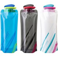 Wholesale Folding Bicycle Bags - Eco-Friendly Portable Foldable Reuseable 700ml water bottle with Carabiner outdoor travel folding bags