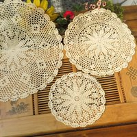 Wholesale Knitting Doily - Wholesale-Handmade Vintage Cotton Round Doily Cup Pads Pastoral Style Flower Placemat Table Mat Doilies Crochet Lace Knit Coaster 25-50cm