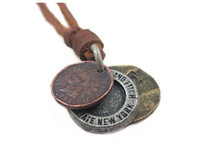 Wholesale Neckless Man - Wholesale-Male Genuine Leather Necklaces Vintage Round Punk Style Men Neckless Jewelery 2015 Colares Accessories