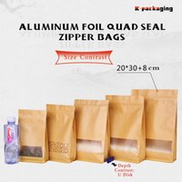 Wholesale 5 x30cm Matt Kraft Block Bottom Bags With Clear Window Dry Food Packaging Zip Lock Kraft Bags Bolsas De Papel