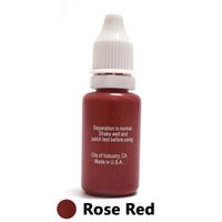 tinta de maquillaje permanente rojo al por mayor-Venta al por mayor - Profesional tinta de tinta Microblading Maquillaje permanente Micro pigmento para delineador de labios de cejas 1/2 oz 15ML Rose Red 1Piece