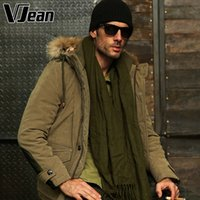 Vente en gros - V JEAN 2015 Winter Peach-Skin Big Tall Hooded Puffer Parka Jacket