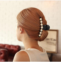 Wholesale Wholesale Hair Bangs - Girls Long Hair Accessories Imitation Pearl Hair Barrettes Elegant Ponytail Hair Clip Bangs Clamp for Women Size L M S HC365