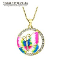 Wholesale Crystal Butterfly Necklace Black - Gold Plated Colorful Enamel Butterfly Neoglory Necklaces Pendants Fashion Indian Jewelry Birthday Gifts 2017 New ENA1 JS6 But-e