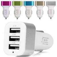 ingrosso tripla auto-Caricatore da auto Tripla USB 3 Porta USB 5.1A Adattatore caricabatteria da auto per iphone 4 5 6 7 per samsung s3 s6 s7 note 2 4 mp3 gps