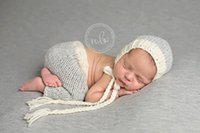 Wholesale Beanies Clothing - High Quality New 0-6month Baby Crochet Photography Props Newborn Photo Cool Boy Costumes Infant Beanies And Pants Clothing Set