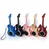 kablosuz arabirim kartları toptan satış-Güzellik tasarım gitar hoparlör kulaklık stereo bluetooth kablosuz hoparlör samsung iphone akıllı telefon için usb sd kart arayüzü ile