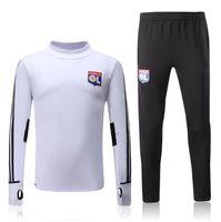 Wholesale Men S Jogging Pants - Top quality 2017 2018 Olympique lyonnais Tracksuit Soccer Jogging Football Tops Coat Pants Sport Training 17 18 Lyon Suit Football Tracksuit