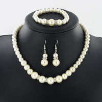 Wholesale Pearl Necklace Earring Bracelet Set - Pearl Necklace Earrings Bracelet Set 3 pieces suit NEW Fashion Jewelry For Women Clothing accessories Fashion hanging chain free shipping