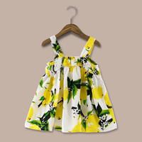 Wholesale tu clothing online - Top quality Hot Selling Fashion Vest Lemon Elegant Bow Summer Dresses Girls skirts Princess Cotton Floral Tu Tu Children clothing
