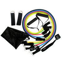 Wholesale Tube Band Resistance Set - 11pcs set Fitness Resistance Band Latex Tubing Expanders Exercise Tubes Practical Strength Crossfit Fitness Muscle Relex Apparatus