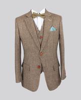 sastre de hombre a medida marrón esmoquin al por mayor-Retro de color claro de color marrón Tweed por encargo del novio Tuxedos para hombre trajes de 3 piezas slim fit trajes de boda a medida para hombres