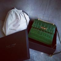 Wholesale Aligator Leather - New fashion women designer handbag classical aligator pattern single shoulder bag totes vintage style handbags black deep green color