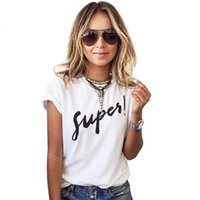 Wholesale korean basic t shirt - Wholesale- 2017 Summer Women's T Shirt Supes Printing Basic T Shirt Short Sleeves O-Neck Korean Style T Shirt Women Plus Size Poleras