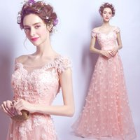 Wholesale Fantasy Embroidery - Pink lace petal bridal gown wedding dress butterfly embroidery bridge bridesmaid dress lovely tulle long fantasy dress