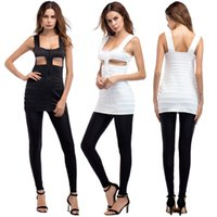 Wholesale Sexy Nightclub Dress Code - sexy halter women's Europe and the United States nightclub new hollow harness dress black and white two-color increase code harness dress