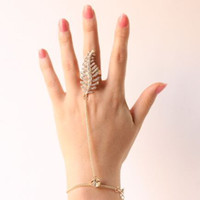 Wholesale slave hand chain resale online - Hot new fashion Women hollow out gold tree with Crystal Ring Slave Chain Hand Harness good quality M1306
