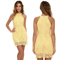 Wholesale Out Shoulders Wedding Dress - Womens Elegant Wedding Party Sexy Night Club Halter Neck Sleeveless Sheath Bodycon Lace Dress for women