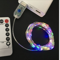 Wholesale Wire Wedding Decorations - led string lights 10M 33ft 100led 5V USB powered Remote control outdoor Warm white RGB copper wire christmas wedding party decoration