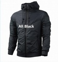 Wholesale Thin Waterproof Fabrics - Free shipping Fall thin windrunner Men Women sportswear high quality waterproof fabric Men sports jacket Fashion zipper hoodie