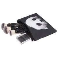 Wholesale Wholesale Canvas Panda Bag - 2017 Lovely Square Makeup bag Cosmetic case Pencil Bags Panda Pattern Handbags zipper pouch canvas Small organizer toiletry For Women