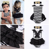 Wholesale Newborn Baby Girls Clothes Romper with headband Little Princess Tutu Skirted Baby Rompers Jumpsuit Summer Striped Ruffled Costume Sunsuit