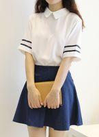 Wholesale Korea Blouse Dress - Wholesale- S-3XL Summer Lolita White Sailor dress Chiffon Blouse shirt+washed denim skir t Cute Japanese&Korea Collage Uniform lovely dre