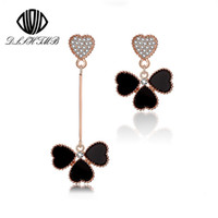 Wholesale Clover Nose Rings - 2015 Fashion Black Three Clover Earrings Gold Plated Heart Leaves Rhinestone Long Earrings for Women