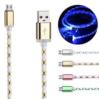 Wholesale Glowing Usb Charger - New Fashion 1M 3FT Visible Glowing LED Light Micro USB Data Sync Charger Cable Lighting Charging Cord For Samsung S7 S6 LG HTC Universal