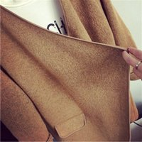 Wholesale Cardigan Sweaters Large Women - Wholesale-High Quality Long Cashmere Knitted Cardigan Women Casual Loose Lrregular Large Lapel Sweater Coat Female 2015 Autumn Winter L123