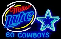Dallas Cowboys Néon Bar Sign Pas Cher-NOUVEAU Miller Lite Dallas Cowboys VERRE EN VERRE NEON SIGN VERRE DE BIERE NEON LIGHT BEER LAGER BAR SIGN 18