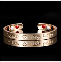 Wholesale titanium health bracelets - The new type of couple type rose gold magnetic copper jewelry set with magnetite health bracelet manufacturers direct sales