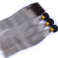 Wholesale ombre gray straight hair for sale - Group buy Grey Ombre Hair With Lace Clsoure Silk Straight Gray Lace Closure With Bundles Two Tone Colored Sliver Grey Hair With Closure
