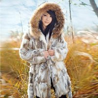 Wholesale Waistcoat Women Raccoon - Free Shipping Genuine Rabbit Fur Coat with hood raccoon fur rabbit jacket Women Winter Rabbit Fur Waistcoat plus size F803