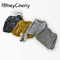 Wholesale Blouse Girls Years - Korean Autumn Cotton Leaf Collar 0-1-2 Years Old Baby Jacket Girl Plaid Shirt Children Girl Top Blouse Girls School Blouses