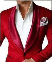 Wholesale Tuxedo Designs - 2017 Brand Red Mens Floral Blazer Designs Mens Paisley Blazer Slim Fit Suit Jacket Men Wedding Tuxedos Fashion Male Suits (Jacket+Pant)
