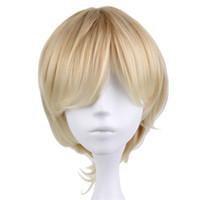 peluca de pelo para hombre al por mayor-Corto rizado hombres traje de fiesta de Cosplay peluca rubia peluca de 35 cm de alta calidad pelucas de pelo sintético