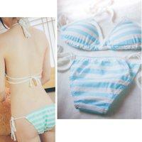Wholesale Green Day Underwear - MIKU sexy bikini Panties Blue Pink Green white stripe Underwear Lovely cosplay briefs