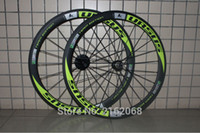 Wholesale Carbon Green Bike Parts - 1pair Newest URSUS green 700C 50mm clincher or tubular rims Road bike matte 3K UD 12K full carbon fibre bicycle wheelsets light parts