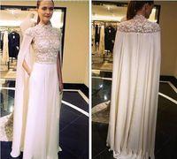 Wholesale Chiffon Floor Length Cape - 2017 Spring Paolo Sebastian Arabic Elegant Evening Dresses With Cape High Neck Lace Satin Sheath Prom Dresses Two Pieces Celebrity Dress