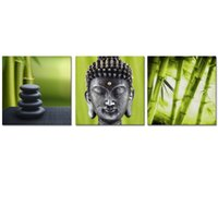 Wholesale Interior Wall Paintings Pictures - Modern Interior Decoration Zen Picture Canvas Printing Artwork Buddha Bamboo Canvas Photo Prints Home Wall Decor 3 Panels