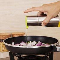 Wholesale Glass Cook - Functional Olive Oil Bottle Soy Sauce Vinegar Seasoning Storage Can Glass Bottom Stainless Steel Body Kitchen Cooking Tools OOA2499