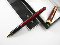 Wholesale Painting Black Art - Parker Arrow Clip Hot Red Painting Golden Trim Rollerball Pen
