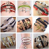 Wholesale Infinity Love Ring - 2017 54 styles bracelets infinity bracelets Love Believe Pearl Friendship Charm Multilayer Charm Leather Bracelets for women