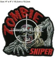 Wholesale Zombie Patches - ZOMBIE SNIPER DOOMSDAY APOCALYPSE PREPPER ROCKABILLY PUNK HOT ROD Motorcycle Embroidered Biker Jacket Vest MC Patches IRON ON