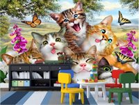 Wholesale cartoon pictures for kids resale online - 3d room wallpaper custom photo non woven mural A group of cats cartoon grass painting picture d wall murals wallpaper for walls d